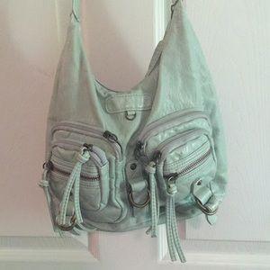 light teal/aqua multi-zipper purse